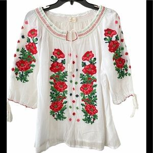 Peasant Top with Floral Embroidery